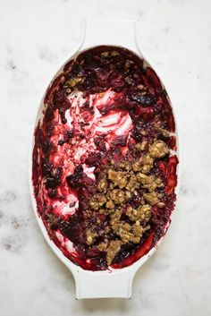Summer Berry Crisp by 101cookbooks: A favorite summer berry crisp - ripe berries cook into a thick, jammy, wine-spiked fruit sludge beneath a crispy, oat-flecked top. #Crisp #Berry