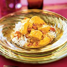 This is a mild chicken curry recipe. To make it spicier, increase the ground red chili. You'll find all these spices at your local grocer or online at www.namaste.com.