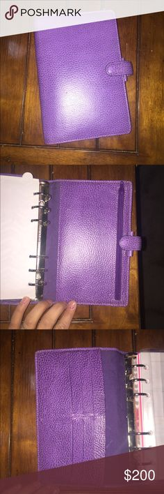 Purple Filofax Finsbury - personal size Rare color! :) this is the PURPLE not electric blue personal/medium size Filofax finsbury. Barely used will come with the original box (cardboard sleeve) great condition perfect rings! Let me know if you have any questions :) Filofax Accessories