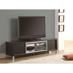 Chic, contemporary style is the first thing you notice about the Monarch Specialties Euro Style TV Stand . This modern TV stand is made from MDF. Dresser With Tv, Dresser Tv Stand, Modern Dresser, Modern Furniture, Furniture Ideas, Media Furniture, Dresser Storage, Furniture Showroom, Accent Furniture