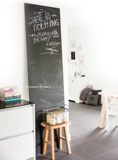 and message! Workspace Inspiration, Interior Inspiration, Kitchen Blackboard, Diy Chalkboard Paint, My Kitchen Rules, Home Projects, Home And Living, Home Accessories, Lettering