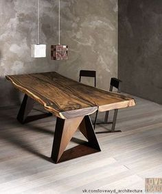 Rustic live edge table with a modern twist.