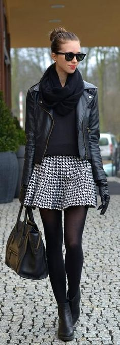 Fall / winter - street & chic style - gray pleated mini skirt black thights black heeled ankle boots black sweater black leather jacket