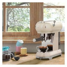 West Elm SMEG Espresso Coffee Machine, Pastel Blue ($450) ❤ liked on Polyvore featuring home, kitchen & dining, small appliances, espresso coffee machine, west elm and espresso coffee maker