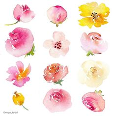 Simple and pretty loose flowers by artist Enya Todd ?please make sure to visi… - Diy Flowers Simple Watercolor Flowers, Easy Watercolor, Floral Watercolor, Drawing Flowers, Painting Flowers, Watercolor Flowers Tutorial, Watercolor Painting Techniques, Watercolor Paintings, Gouache Painting