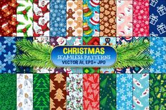 Set of 30 Christmas vector patterns. Contain all kind of Christmas illustrations: snowflake, santa, gingerbread man, cookie, gift, christmas tree, angel, penguin, reindeer, mistletoe. Format Vector Ai, Eps + JPG.  Check Set 2 here: https://thehungryjpeg.com/product/2576-christmas-seamless-pattern-set-2/