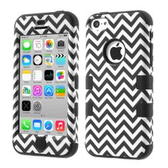 Black Wave Pattern Silicone & Plastic Shock Absorbent Combo Case for #iPhone5c