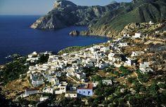 The village of Mesohori in Karpathos island, Dodecanese, Greece