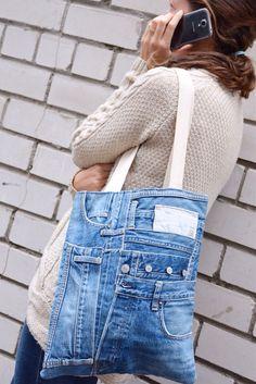 Bolso de mano con estilo denim con forro floral bolsillo