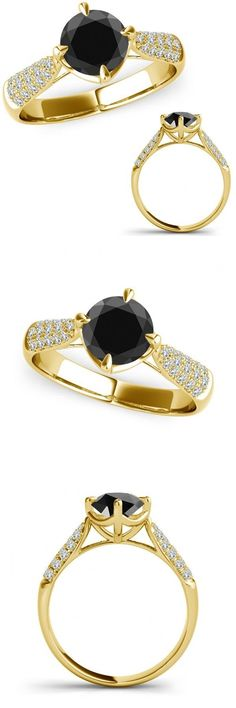 Other Engagement Rings 164308: 1 Ct Black Diamond Solitaire Cluster Marriage Fancy Women Ring 14K Yellow Gold -> BUY IT NOW ONLY: $574.98 on eBay!