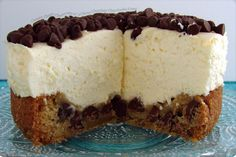 creamy classic cheesecake with a chewy chocolate chip cookie crust