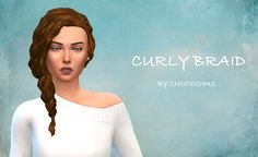 """chocooosims:  """" Hello! This weekend, I tried to make a new long curly hair with no volume, but I failed. I still have a lot to learn with Blender… Anyways, here's a new curly hair for you. It's the braid from Get Together, that I slightly modified to..."""