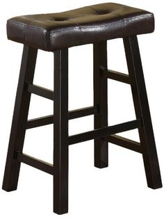 """Set of 2, Country Series Counter Stool - 24""""H - in Espresso Finish with Faux Leather by Poundex. $97.88. Save 18%!"""