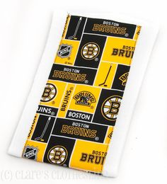 Baby Burp Cloth  Boston Bruins Black and Gold Hockey Burp Cloth by Clare's Clothesline, $6.00