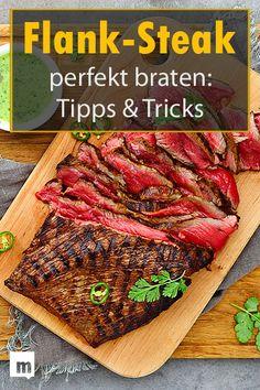 Flank-Steak perfekt braten: Tipps & Tricks Frying flank steak perfectly: tips and tricks. # men's th Vegan Easy, Greek Diet, Rinder Steak, Steaks, Smoker Cooking, Skirt Steak, Carne Asada, Chimichurri, Steak Recipes