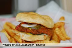 World Famous Slugburger- Corinth, MS. My hometown, Corinth, MS     The White Trolley is the home of the Slugbuger......