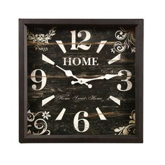 """Found it at Wayfair - Vintage-Inspired Distressed Square """"Home"""" Scroll and Flower Detail Wall Hanging Clock"""