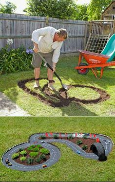 Children would love this... what do you think? Tutorial: http://thewhoot.com.au/whoot-news/diy/build-a-race-car-track