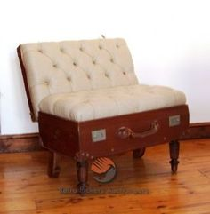 Old suitcase seat