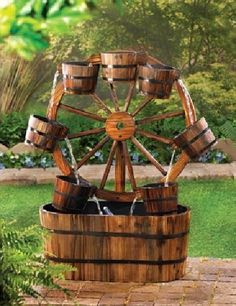 Western Wagon Wheel Buckets Electric Water Fountain Indoor Outdoor Ranch Country