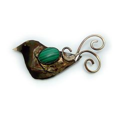 Swirly Birdie   malachite Pin (Brooch)  in Sterling Silver and Married Metals  by Cathleen McLain McLainJewelry