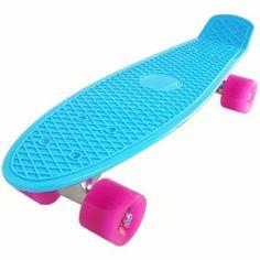 "Amazon.com: Plastic Cruiser Skateboard Complete Penny Size 22"" DIY Banana Board Blue/Pink: Sports & Outdoors"