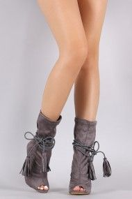Tassel-Tie Peep Toe Stiletto Mid-Calf Boots   UrbanOG