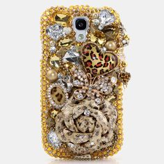 Samsung Galaxy S3 S4 Note2 3 - iPhone 5 5S 5C 4/4S Handcrafted Case 3D Luxury Bling Crystal Sparkle Diamond Gorgeous Golden Leopard Rose_476 on Etsy, $69.99