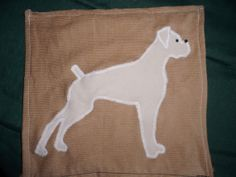 Handmade White Boxer Dog silhouette QUILT Made-to-order Dog Lovers Must see