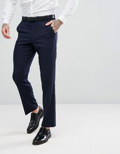 ASOS Slim Tuxedo Suit Pants In Navy - Navy
