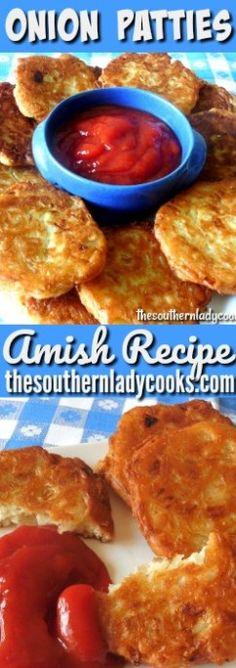 Onion Patties Amish Recipe - They are quick and easy to make. They make great appetizers and snacks. Serve onion patties with ketchup. Onion Recipes, Vegetable Recipes, Cornmeal Recipes, Vegetable Appetizers, Veggie Snacks, Great Appetizers, Appetizer Recipes, Fingers Food, Nuggets