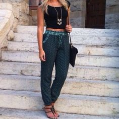 Black crop, aqua trousers, sandals = ready for summer! Also love love looove the chevron necklace!