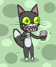 'Coffee Cat' by Sunday Coffee, Night Coffee, I Love Coffee, Coffee Cat, Coffee Artwork, Night Illustration, Cat Art Print, Camping Coffee, Cat People