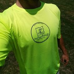 The new neon yellow #GirlsRunFast  shirts are in! Super bright, super soft and super cool! #runsafe at night.