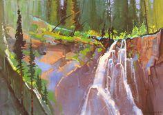 "Stephen Quiller Portrait of Hidden Falls 35 24x36"" acrylic and casein"