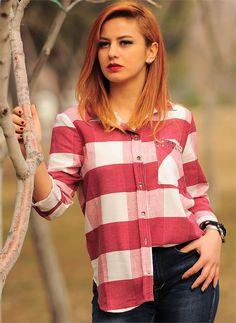 Bayan Gömlek Ekoseli 2401 Kırmızı| Modelleri ve Uygun Fiyat Avantajıyla | Modabenle