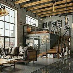 Design Loft, House Design, Wall Design, Modern Design, Home Interior Design, Interior Architecture, Modern Interior, Industrial Architecture, Interior Ideas