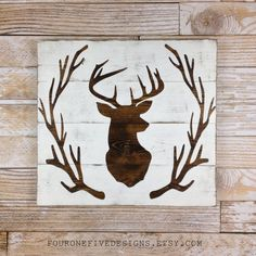 This item is unavailable : Deer Head Antler Wreath Wood Plank Sign, Home Decor, Rustic Art, Wood Sign by fouronefivedesigns on Etsy Rustic Art, Rustic Wood Signs, Wooden Signs, Rustic Decor, Rustic Style, Wood Deer Head, Deer Head Decor, Deer Heads, Hirsch Silhouette