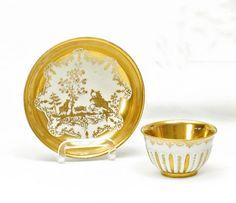 Tea Bowl and Saucer with Wild Boar Hunt.   Meissen. Circa 1733. Gold decor Augsburg, Seuter workshop.