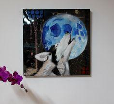 Hurler à la lune 24''x24'' tec mixtes sur canevas !
