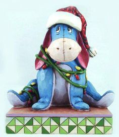 """Uh-oh! Eeyore wanted to help put up the Christmas lights! """"ENTANGLED""""- EEYORE (jim Shore Disney Traditions) (from Walt Disney's """"Winnie the Pooh"""")"""