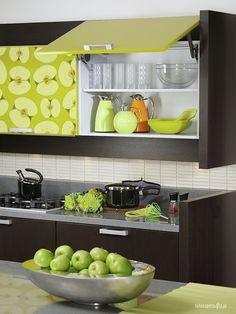Apple wallpaper on kitchen shelf by Fototapeta4u.pl