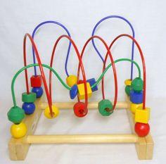 Ikea Mula Bead Roller Coaster Wooden Multicolor Baby Toddler Developmental Toy #IKEA