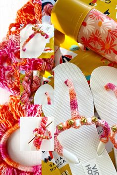 Vickie Howell shows hoe to use single crochet, and granny stripes to decorate a pair of flip flops. Pattern and video. Crochet Flip Flops, Wrist Warmers, Crochet Accessories, Hoe, Single Crochet, Mittens, Wraps, Gift Wrapping, Stripes