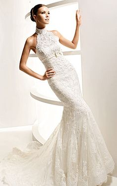 Mermaid High Neck Wedding Dress Chapel Train Tie Elegant This is the style I have been looking at