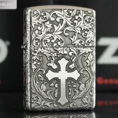 Armor Zippo Sterling Silver Arabesque and Cross Lighter
