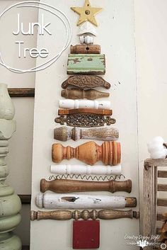 You will be glad you pinned this tree. My version of Mr. Brown's Christmas tree.  A vintage shabby junk farmhouse style tree made with broken spindles and junk. | Country Design Style | http://countrydesignstyle.com