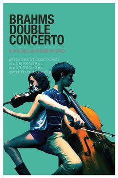 Claremont Concert Orchestra Poster | Annie Aqua Designs Orchestra Concerts, Creative Posters, Annie, Aqua, Graphic Design, Classic, Movie Posters, Jazz, Type