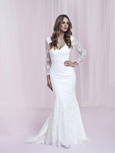Love this long sleeve lace wedding dress
