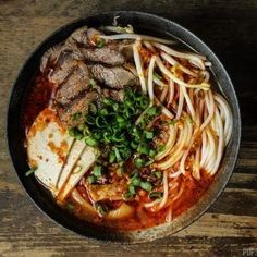A Vietnamese spicy beef noodle soup (Bun Bo Hue) packed with flavour. If you love Pho, and you love a bit of spice the definitely give Bun Bo Hue a try. Asian Noodle Recipes, Vietnamese Recipes, Asian Recipes, Beef Recipes, Soup Recipes, Vietnamese Food, Recipies, Asian Foods, Beef Noodle Soup